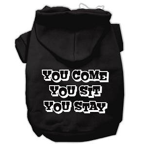 You Come, You Sit, You Stay Screen Print Pet Hoodies Black Size XXXL (20)