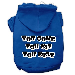 You Come, You Sit, You Stay Screen Print Pet Hoodies Blue Size Lg