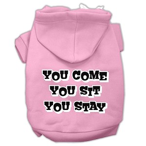 You Come, You Sit, You Stay Screen Print Pet Hoodies Light Pink Size XXXL(20)