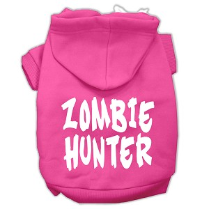 Zombie Hunter Screen Print Pet Hoodies Bright Pink Size S (10)