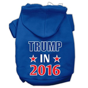 Trump in 2016 Election Screenprint Pet Hoodies Blue Size XS (8)