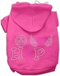 Peace Love Hope Breast Cancer Rhinestone Pet Hoodie Bright Pink XS