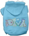 Technicolor Diva Rhinestone Pet Hoodie Baby Blue XS