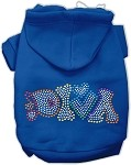 Technicolor Diva Rhinestone Pet Hoodie Blue XS