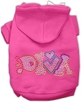 Technicolor Diva Rhinestone Pet Hoodie Bright Pink XS