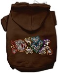 Technicolor Diva Rhinestone Pet Hoodie Brown XS
