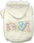 Technicolor Diva Rhinestone Pet Hoodie Cream XS