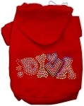 Technicolor Diva Rhinestone Pet Hoodie Red XS