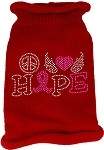 Peace Love Hope Rhinestone Knit Pet Sweater Red Med
