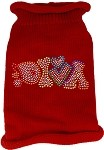 Technicolor Diva Rhinestone Knit Pet Sweater Red Med