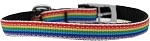 Rainbow Striped Nylon Dog Collar with classic buckles 3/8