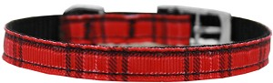 Plaid Nylon Dog Collar with classic buckle 3/8