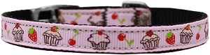 Cupcakes Nylon Dog Collar with classic buckle 3/8