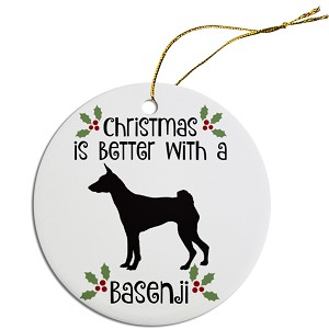 Breed Specific Round Christmas Ornament Basenji