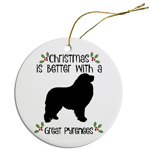 Breed Specific Round Christmas Ornament Great Pyrenees