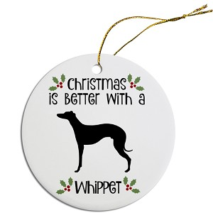 Breed Specific Round Christmas Ornament Whippet