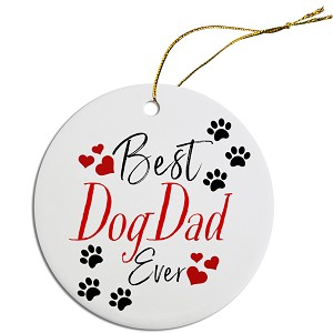 Round Christmas Ornament Best Dog Dad