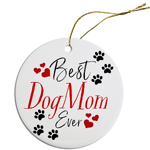 Round Christmas Ornament Best Dog Mom