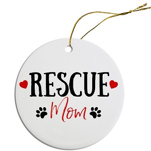 Round Christmas Ornament Rescue Mom