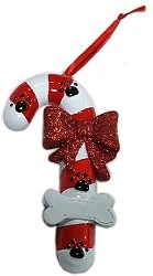 Candy Cane Paw Christmas Ornament