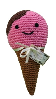 Knit Knacks Scoop the Ice Cream Cone Organic Cotton Small Dog Toy