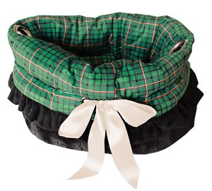 Green Plaid Reversible Snuggle Bugs Pet Bed, Bag, and Car Seat All-in-One