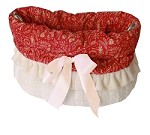Red Holiday Whimsy Reversible Snuggle Bugs Pet Bed, Bag, and Car Seat All-in-One