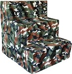 Green Camo Plush Foam Pet Steps