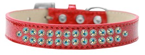 Two Row AB Crystal Size 12 Red Ice Cream Dog Collar