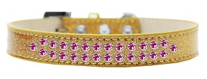Two Row Bright Pink Crystal Size 12 Gold Ice Cream Dog Collar