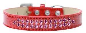 Two Row Bright Pink Crystal Size 14 Red Ice Cream Dog Collar