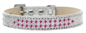 Two Row Bright Pink Crystal Size 16 Silver Ice Cream Dog Collar