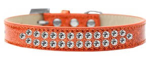 Two Row Clear Crystal Size 18 Orange Ice Cream Dog Collar