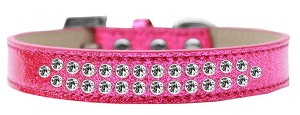 Two Row Clear Crystal Size 14 Pink Ice Cream Dog Collar