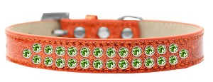 Two Row Lime Green Crystal Size 20 Orange Ice Cream Dog Collar