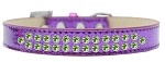 Two Row Lime Green Crystal Size 12 Purple Ice Cream Dog Collar
