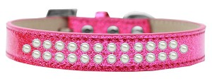 Two Row Pearl Size 12 Pink Ice Cream Dog Collar