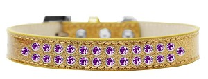 Two Row Purple Crystal Size 20 Gold Ice Cream Dog Collar