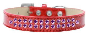 Two Row Purple Crystal Size 14 Red Ice Cream Dog Collar