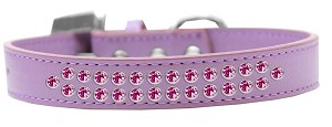 Two Row Bright Pink Crystal Size 18 Lavender Dog Collar