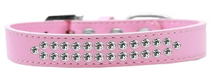 Two Row Clear Crystal Size 18 Light Pink Dog Collar
