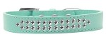 Two Row Clear Crystal Size 12 Aqua Dog Collar