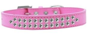 Two Row Clear Crystal Size 14 Bright Pink Dog Collar