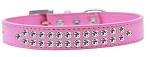 Two Row Clear Crystal Size 12 Bright Pink Dog Collar