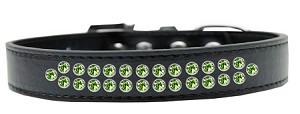 Two Row Lime Green Crystal Size 12 Black Dog Collar