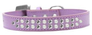 Two Row Pearl and Clear Crystal Size 20 Lavender Dog Collar