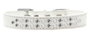 Two Row Pearl and Clear Crystal Size 12 White Dog Collar
