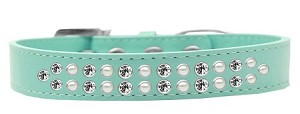 Two Row Pearl and Clear Crystal Size 16 Aqua Dog Collar
