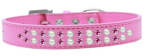 Two Row Pearl and Pink Crystal Size 18 Bright Pink Dog Collar