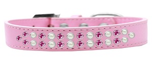Two Row Pearl and Pink Crystal Size 14 Light Pink Dog Collar